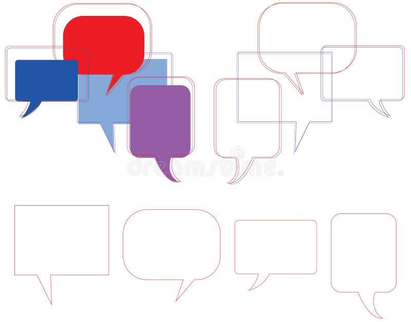 Conjunto púrpura de la burbuja del discurso stock de ilustración