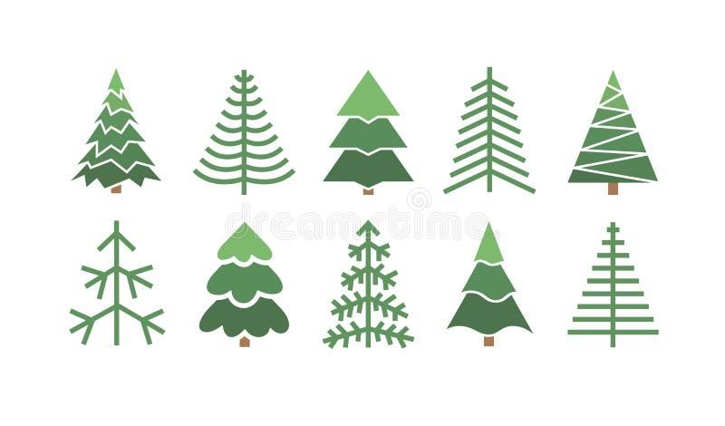 Conjunto plano de árboles de Navidad Fondo de vacaciones Bosques de dibujo de líneas abstractas Ilustración Vector Holidays ilustración del vector
