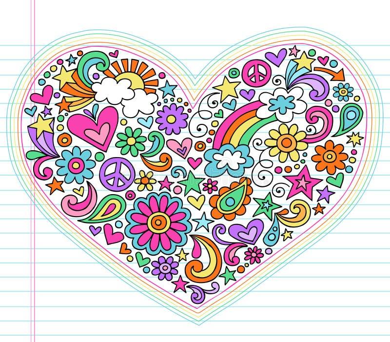 Conjunto psicodélico del vector de los Doodles del amor del corazón libre illustration