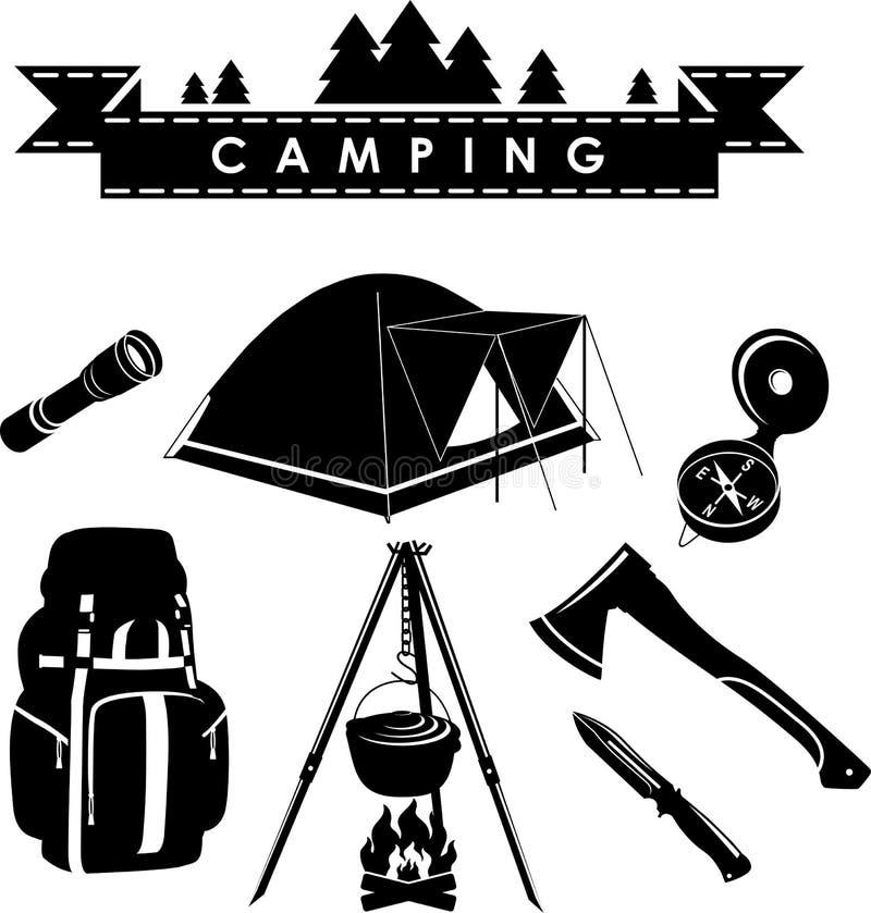 Conjunto que acampa libre illustration