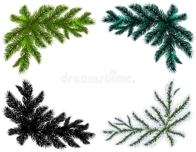 conjunto Ramas de árbol de navidad azules, negras, blancas y verdes en un fondo blanco aislado Ilustración stock de ilustración