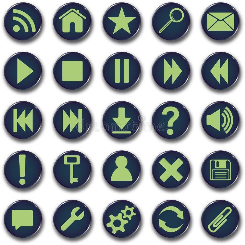 Conjunto redondo del botón de los iconos ilustración del vector