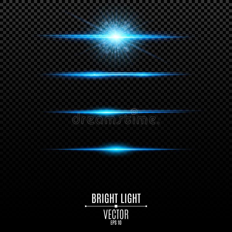 conjunto Resplandor abstracto y flashes aislados en un fondo transparente Estrella radiante brillante Líneas y luces de neón azul stock de ilustración