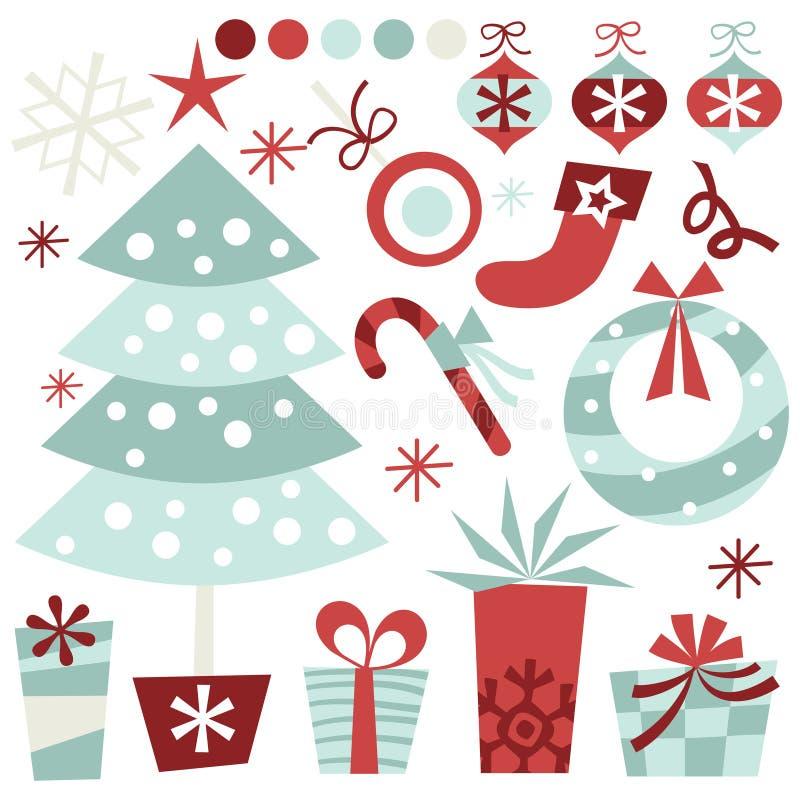 Conjunto retro de la Navidad ilustración del vector