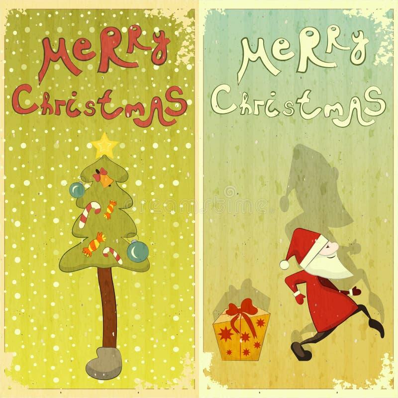 Conjunto retro de la tarjeta de Navidad stock de ilustración
