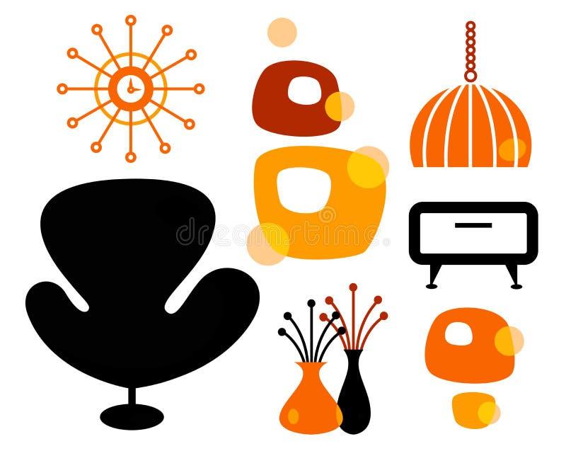 Conjunto retro de los muebles ilustración del vector