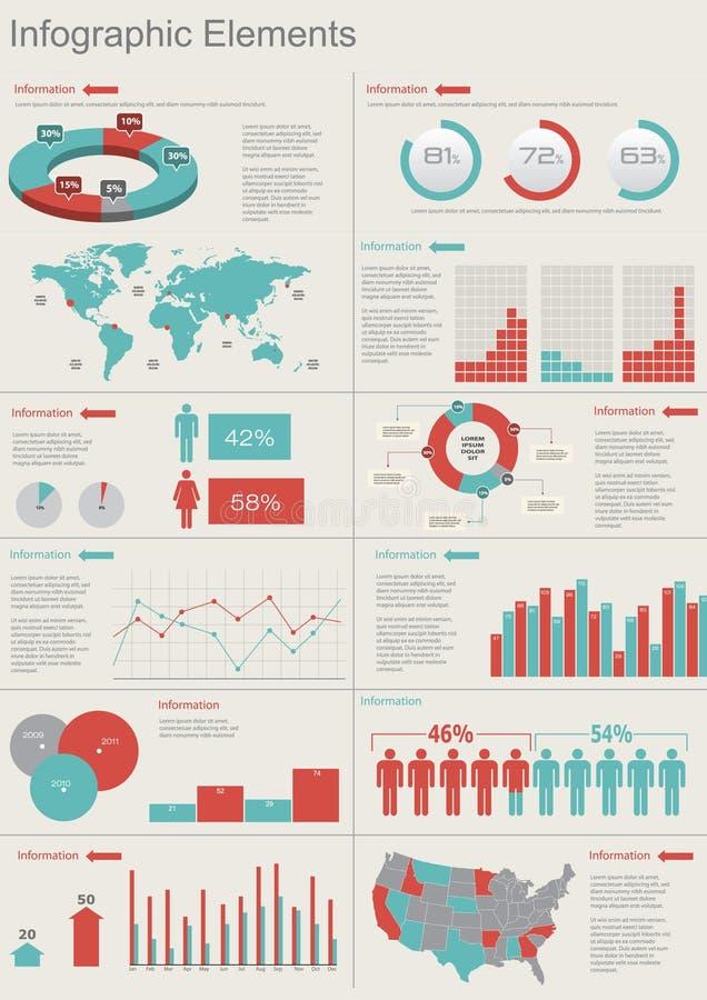 Conjunto retro del infographics. stock de ilustración