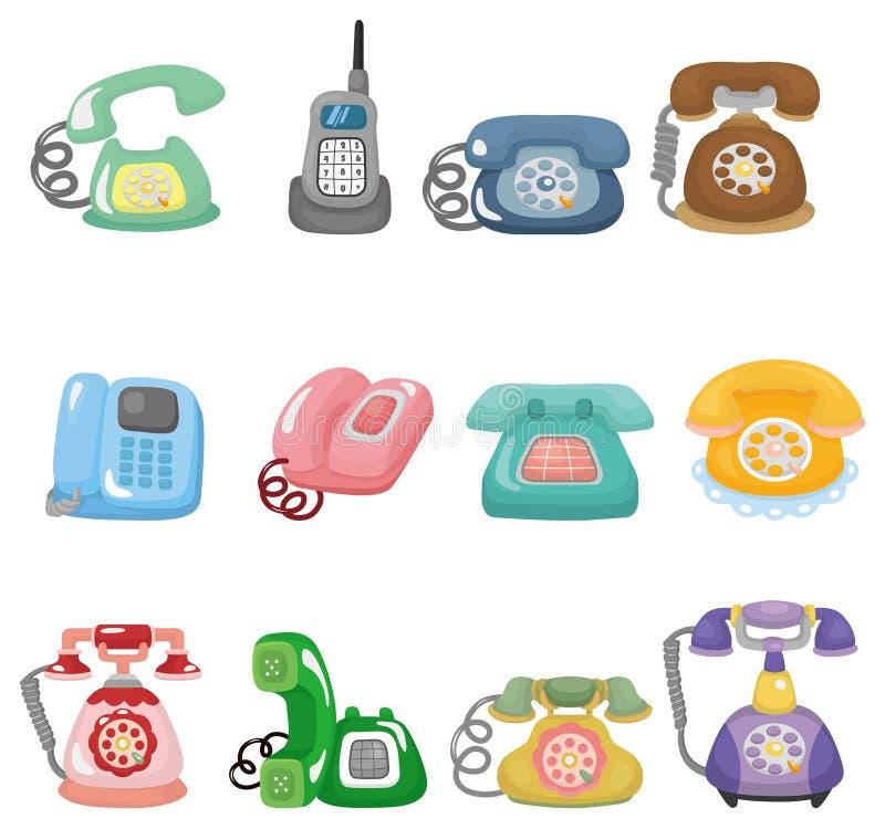 Conjunto retro divertido del icono del teléfono de la historieta ilustración del vector
