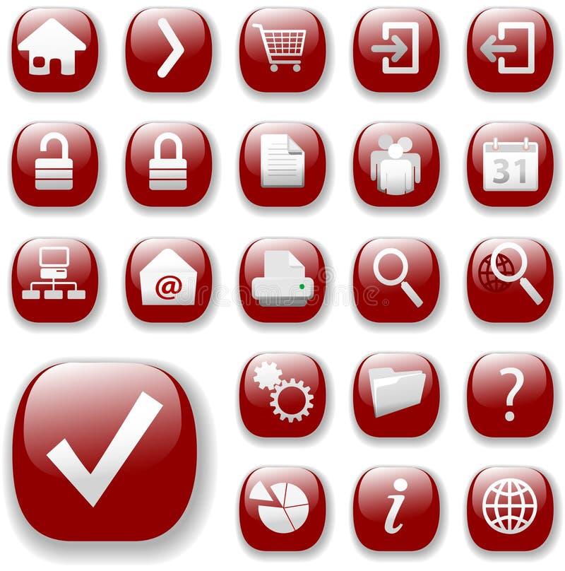 Conjunto rojo del icono de la navegación del Web stock de ilustración