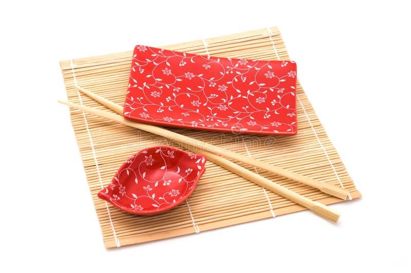 Conjunto rojo del sushi foto de archivo libre de regalías