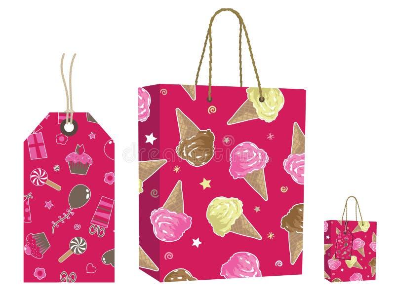 Conjunto rosado del bolso y de la etiqueta ilustración del vector