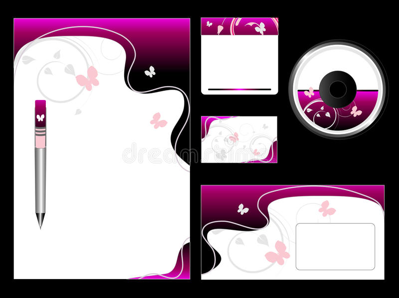 Conjunto rosado del papel ilustración del vector