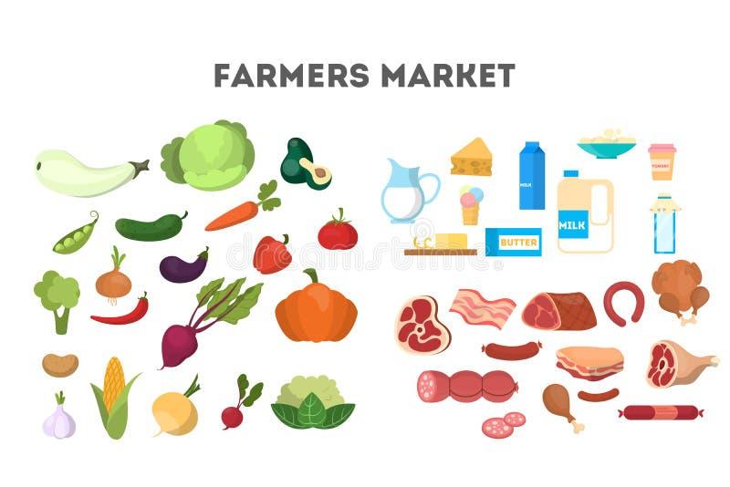 Conjunto sano del alimento Colletion de los productos lácteos libre illustration