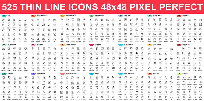 Conjunto simple de iconos de línea delgada vectorial Contiene iconos como Business, Marketing, Shopping, Banking, E-commerce, SEO libre illustration