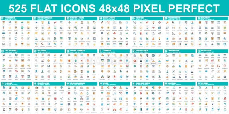 Conjunto simple de iconos planos vectoriales Contiene iconos como Business, Marketing, Shopping, Banking, E-commerce, SEO stock de ilustración