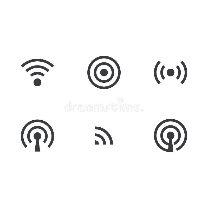 Conjunto sin hilos del icono Engrana el icono Símbolo de Wifi Símbolo de Internet Indicador de la señal Icono de la traducción stock de ilustración