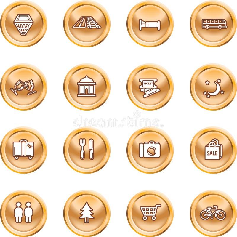 Conjunto turístico del icono de las localizaciones ilustración del vector