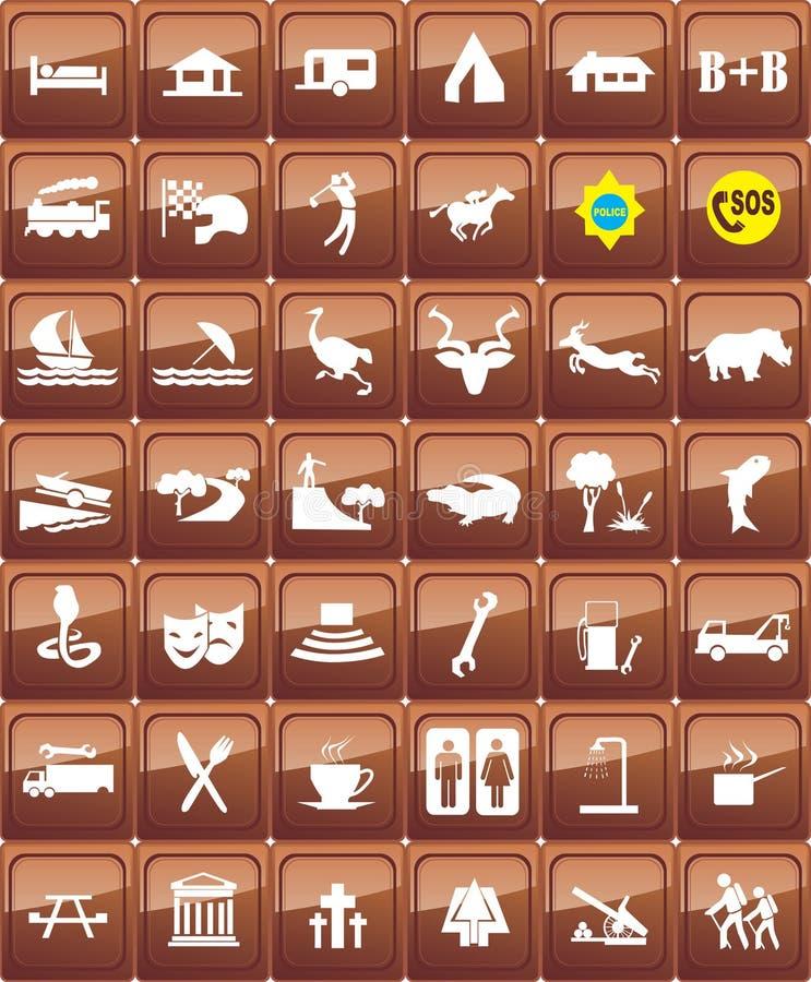 Sistema turístico del icono de las ubicaciones ilustración del vector
