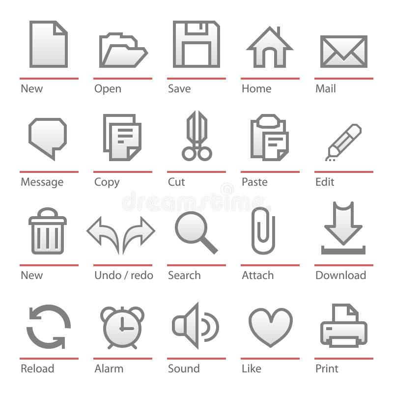 Conjunto universal del icono del software stock de ilustración