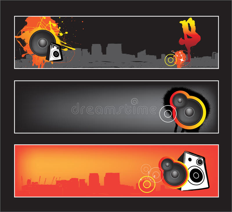 Conjunto urbano de la bandera del Web site de la música stock de ilustración