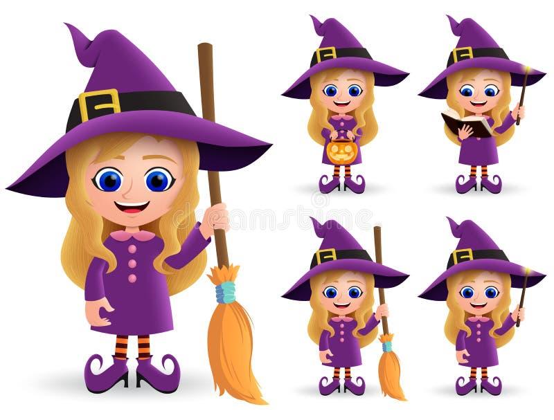 Conjunto vectorial de caracteres de bruja de Halloween. Personajes adorables de bruja alegre de pie stock de ilustración