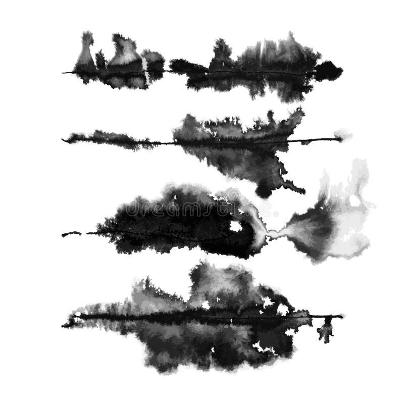 Conjunto vectorial de cuatro pinceles de tinta rúnica libre illustration