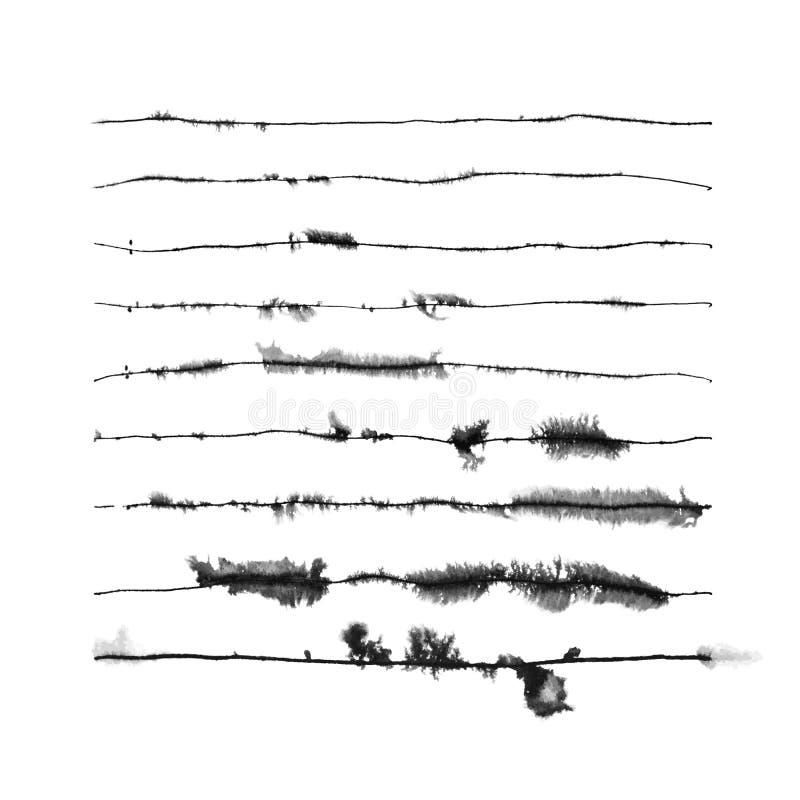 Conjunto vectorial de nueve pinceles de tinta rúnica stock de ilustración