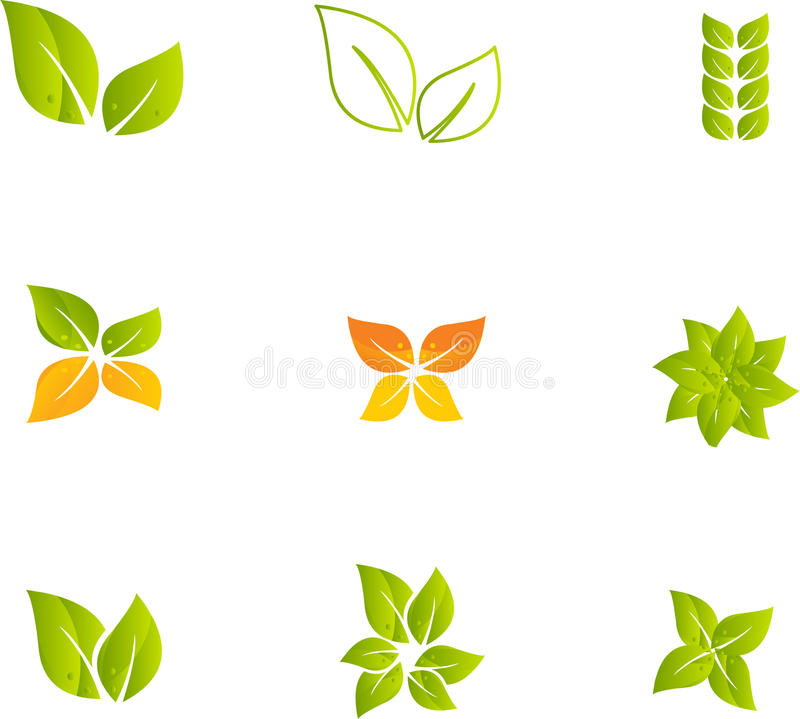 Conjunto verde de la hoja stock de ilustración