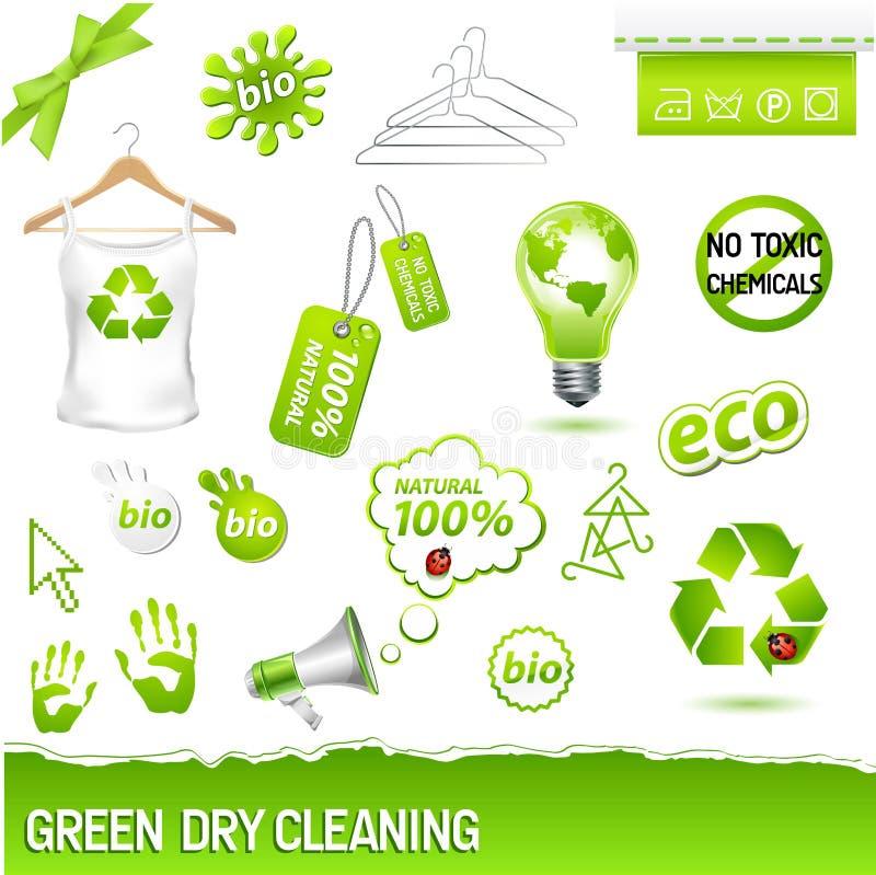 Conjunto verde de la limpieza en seco ilustración del vector