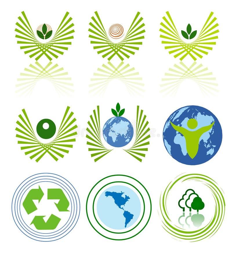Conjunto Verde Del Icono De La Energía Imagenes de archivo