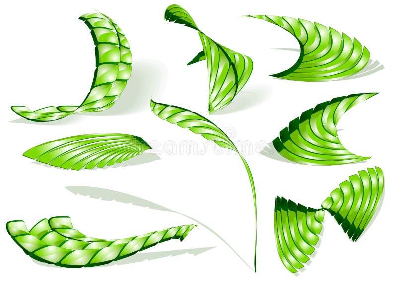 Conjunto verde del icono del extracto 3d stock de ilustración