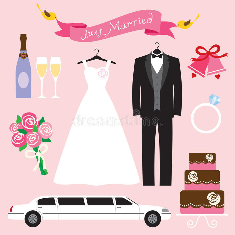 Conjunto Wedding stock de ilustración