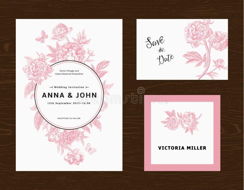 Conjunto Wedding El menú, ahorra la fecha, tarjeta de la huésped libre illustration