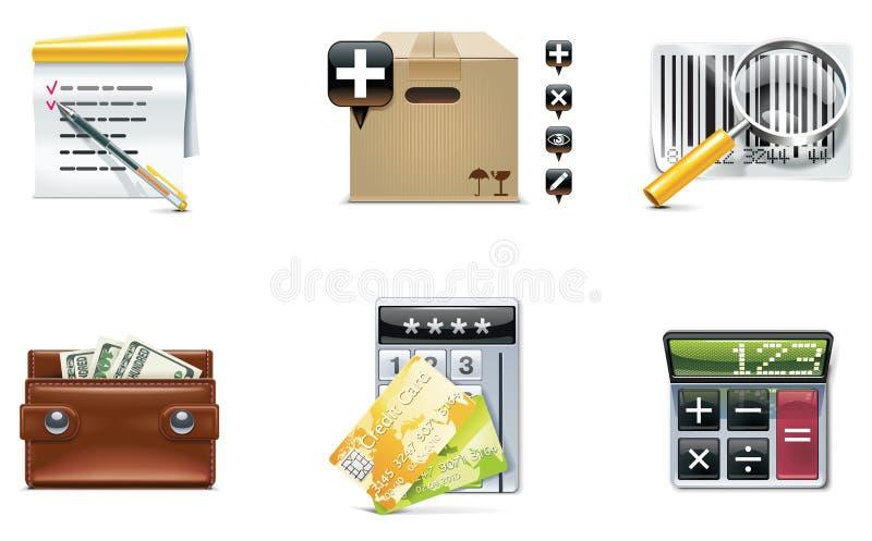 Conjunto y elementos del icono de las compras del vector. Parte 4 ilustración del vector