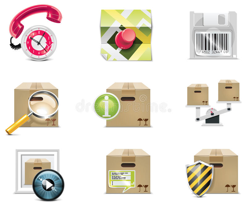 Conjunto y elementos del icono de las compras del vector. Parte 5 ilustración del vector