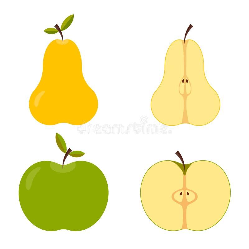 Conjunto y fruta cortada del verano - manzana y pera ilustración del vector