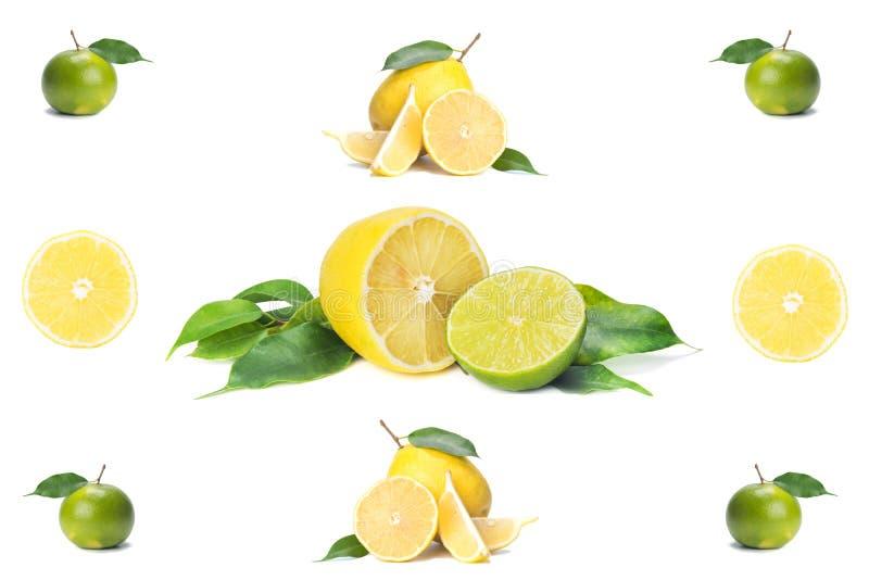Conjunto y rebanadas aislados, limón fresco y cal de la fruta cítrica, en el fondo blanco imagen de archivo