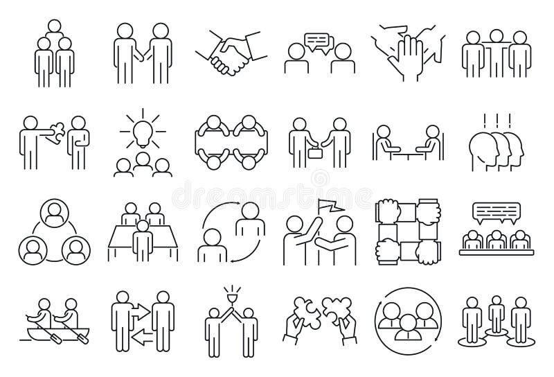 Conjuntos de ícones de cooperação empresarial, estilo de esboço ilustração stock