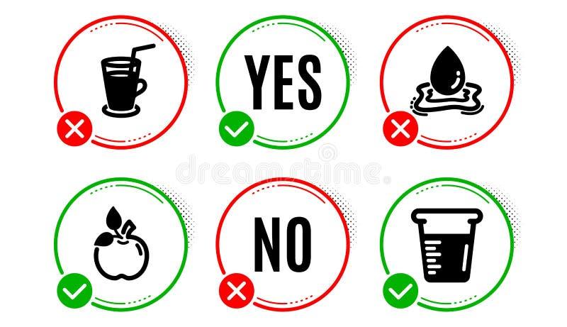 Conjuntos de ícones Eco-food, Water spling and Coctail Sinal do copo-medida Testado orgânico, gota aquática, Bebida fresca Vetor ilustração royalty free