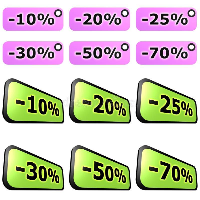 Conjuntos de escritura de la etiqueta de la venta stock de ilustración