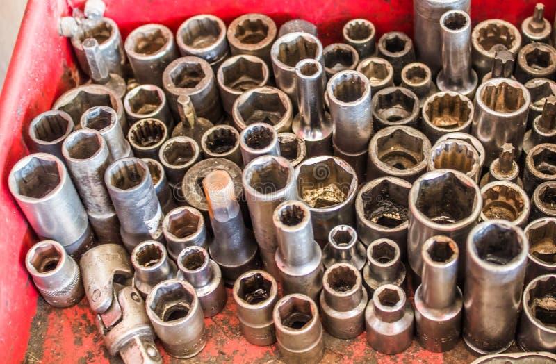 Conjuntos de ferramentas da reparação de automóveis foto de stock royalty free