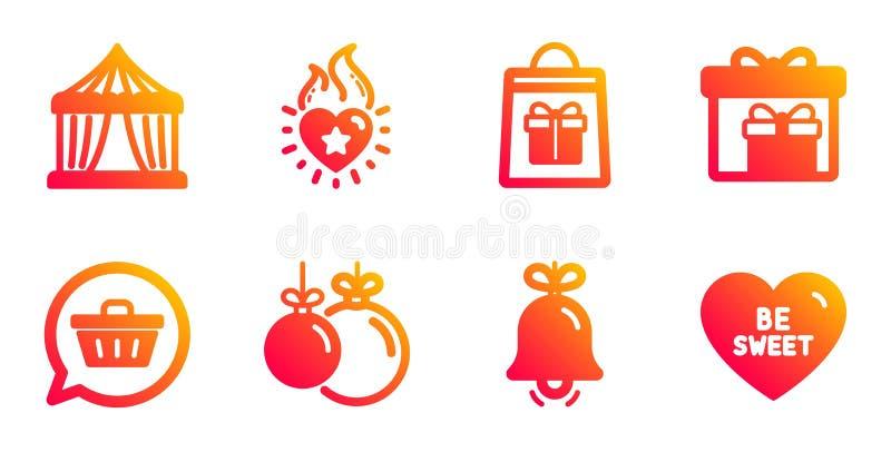 Conjuntos de iconos de compra de Bell y Holidays Carpa de circo, carro comercial y carteles de llama del corazón Vector stock de ilustración