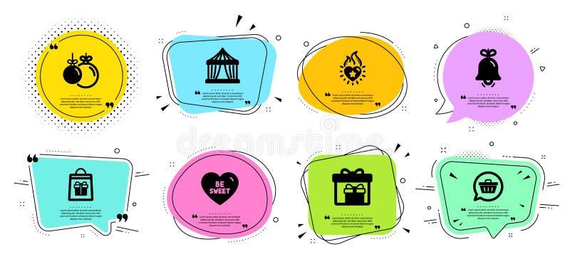 Conjuntos de iconos de compra de Bell y Holidays Carpa de circo, carro comercial y carteles de llama del corazón Vector libre illustration