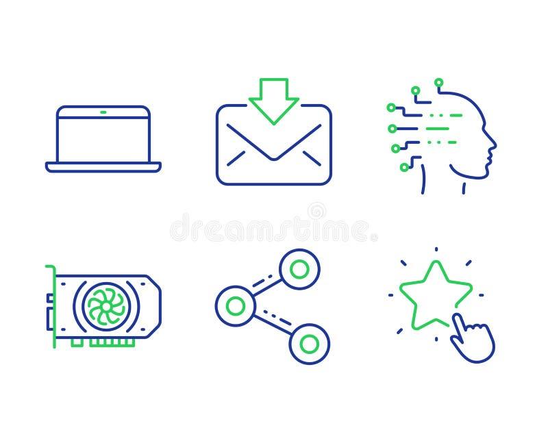 Conjuntos de iconos de inteligencia artificial, correo entrante y Compartir Señales de la estrella de portátil, Gpu y Ranking Vec libre illustration