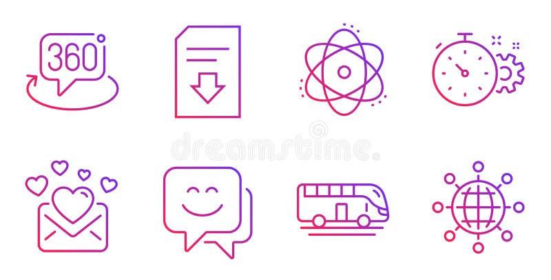 Conjuntos de iconos de viaje, correo de amor y cara de sonrisa Señales de archivo de 360 grados, Atom y Download Vector libre illustration