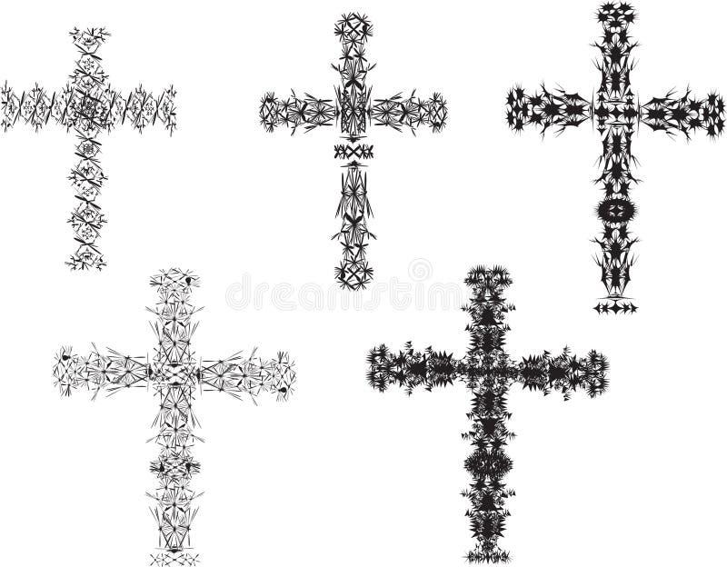 Conjuntos de la cruz stock de ilustración