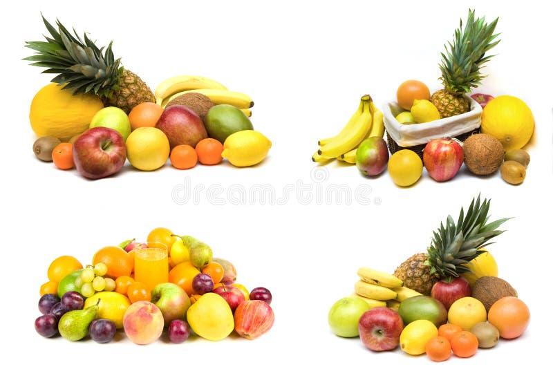 Conjuntos de la fruta en blanco imagen de archivo