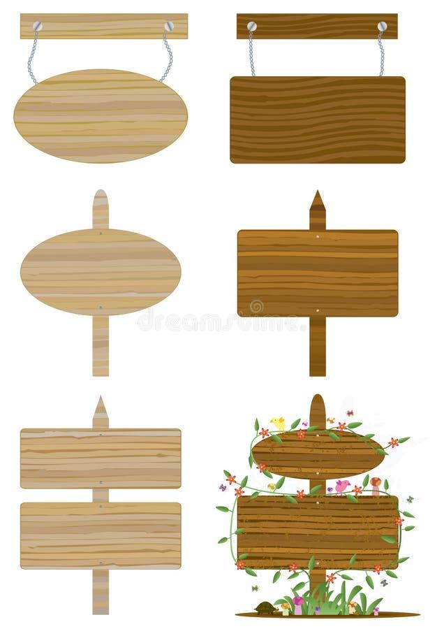 Conjuntos de la tarjeta de madera stock de ilustración