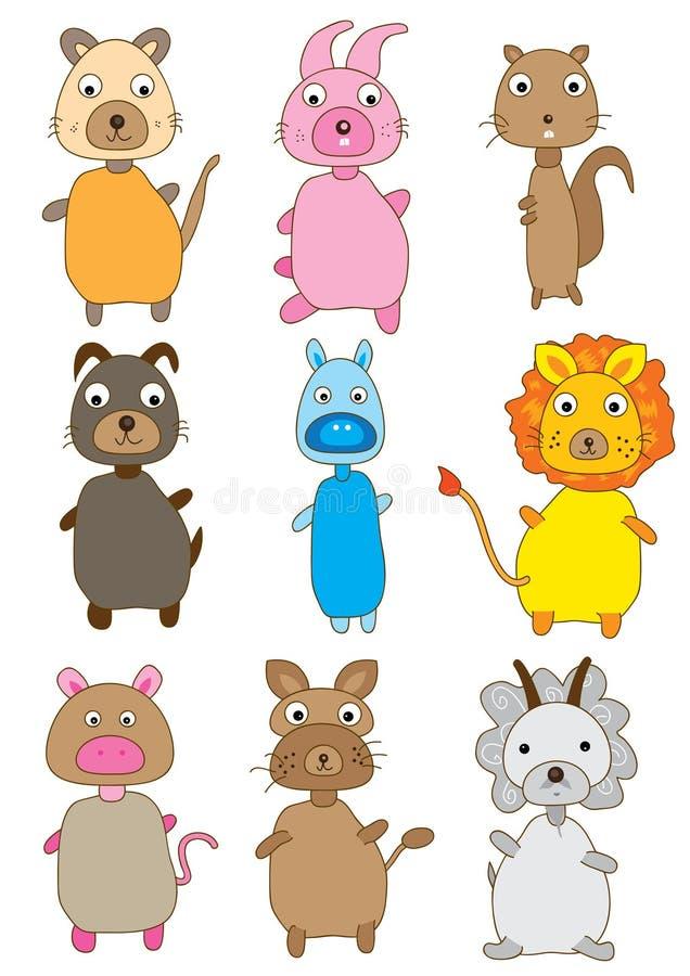 Conjuntos de los animales stock de ilustración