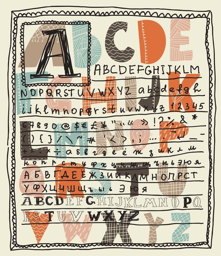 Conjuntos del alfabeto en vector ilustración del vector